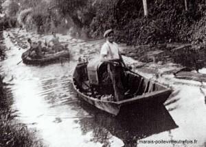 Saint-Hilaire-la- Palud, arrivée d'un train de bois de peupliers à la scierie